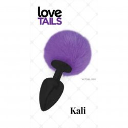 Love Tails: Kali Black Plug with Purple Pom Pom - Medium