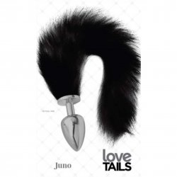 Love Tails: Juno Silver Plug with Long BlackTail - Large
