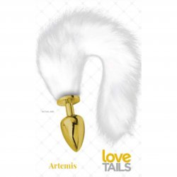 Love Tails: Artemis Gold Plug with Long White Tail - Large