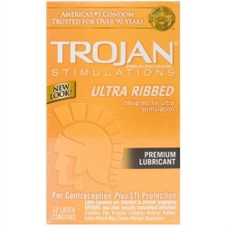 Trojan Ultra Ribbed Lubricant - 12 Pack