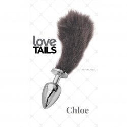 Love Tails: Chloe Silver Plug with Short Black Tail - Small Sex Toy