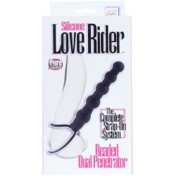 Silicone Love Rider: Beaded Dual Penetrator - Black