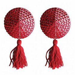 Ouch! Nipple Tassels - Round - Red