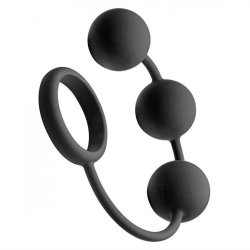 Tom Of Finland Silicone Cock Ring With 3 Weighted Balls - Black - 12""