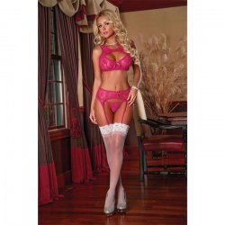 Exposed: Raspberry Bra, Garter & G-String Set - L