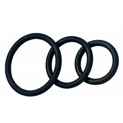 Nitrile Cock Ring Set - 3-Pack - Black
