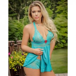 Exposed - Teal Bliss - Baby Doll & Short Set - L/XL