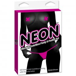 Neon Vibrating Crotchless Panty & Pasties Set - Pink
