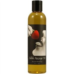 Earthly Body Hemp Edible Massage Oil - 8oz - Strawberry Sex Toy