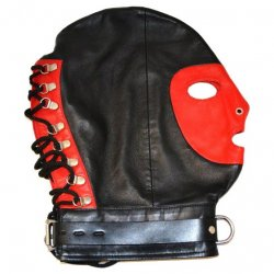 Rouge Mask With D Ring And Lock Strap - Red/Black Sex Toy