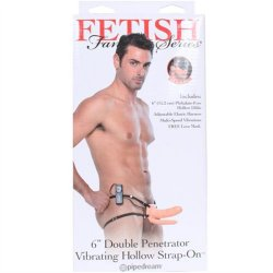 Fetish Fantasy Double Penetrator Vibrating Hollow Strap-On - Cream 6""