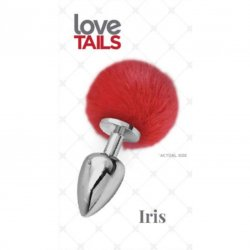 Love Tails: Iris Silver Plug with Red Pom Pom - Medium