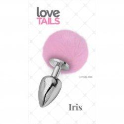 Love Tails: Iris Silver Plug with Pink Pom Pom - Medium