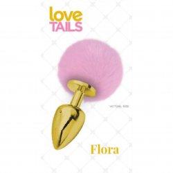 Love Tails: Flora Gold Plug with Pink Pom Pom - Medium